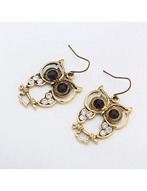 Fashion Bronze Hollow Out Owl Shape Decorated Simple Design Alloy Korean Earrings