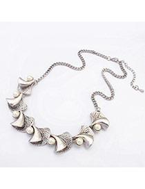 Fashion Silver Color Trumpet&pearl Decorated Simple Design Alloy Bib Necklaces