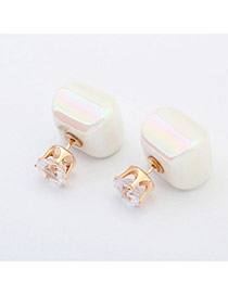 Sweet White Diamond & Candy Color Decorated Square Shape Design Acrylic Stud Earrings