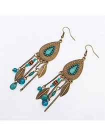 Fashion Mixed Color Q Striped Long Geometric Beaded Five-pointed Star Earrings