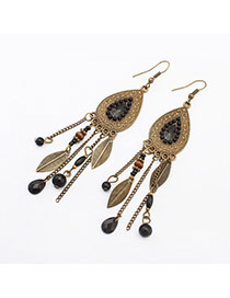 Vintage Black Beads & Leaf Decorated Water Drop Shape Tassel Design
