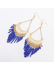 Fashion Blue Crescent Shape Decorated Tassels Design Acrylic Korean Earrings