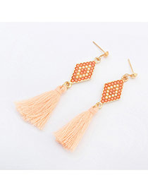 Fashion Light Orange Rhombus Pattern Decorated Tassels Design Alloy Stud Earrings