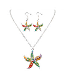 Cute Silver Color Starfish Shape Pendant Decorated Simple Design Alloy Jewelry Sets