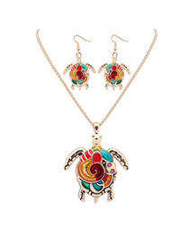 Cute Gold Color Turtle Shape Pendant Decorated Simple Design Alloy Jewelry Sets