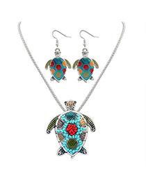 Cute Silver Color Turtle Shape Pendant Decorated Simple Design Alloy Jewelry Sets