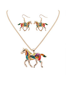 Cute Gold Color Horse Shape Pendant Decorated Simple Design Alloy Jewelry Sets