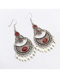 Fashion Red Diamond Decorated Crescent Shape Design Alloy Korean Earrings