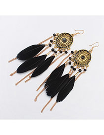 Fashion Black Tassel Pendant Decorated Round Shape Design Feather Korean Earrings