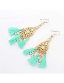 Vintage Light Green Tassel Pendant Decorated Hollow Out Waterdrop Shape Design Alloy Korean Earrings