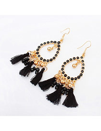 Vintage Black Tassel Pendant Decorated Hollow Out Round Shape Design Alloy Korean Earrings