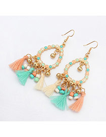 Vintage Multi-color Tassel Pendant Decorated Hollow Out Round Shape Design Alloy Korean Earrings