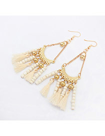 Vintage White Tassel Pendant Decorated Chain Design Alloy Korean Earrings