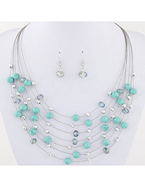 Bohemia Light Green Pearl&crystal Decorated Multi-layer Necklace