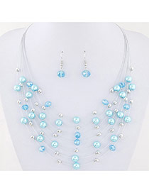 Bohemia Light Blue Pearl&crystal Decorated Multi-layer Necklace Set