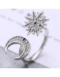 Vintage Silver Color Star&moon Shape With Full Diamond Decorated Opening Ring