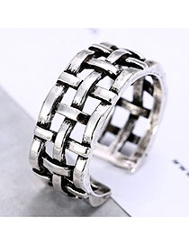 Fashion Silver Color Hollow Out Cross Metal Decorated Pening Ring