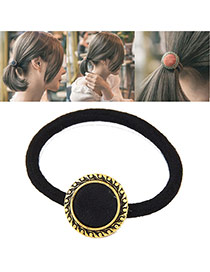 Retro Black Round Shape Decorated Simple Hair Band
