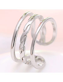 Elegant Silver Color Pure Color Decorated Multi-layer Opening Ring