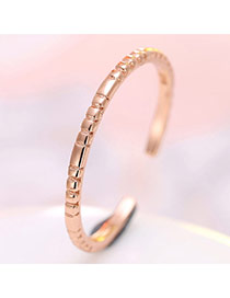Personalized Rose Gold Pure Color Decorated Simple Opening Ring