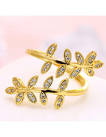 Personalized Gold Color Leaf Shape Decorated Simple Opening Ring