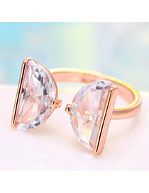 Personalized Rose Gold Semicircle Shape Diamond Decorated Simple Opening Ring