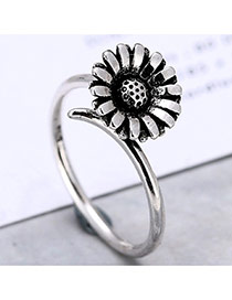 Lovely Silver Color Sunflower Shape Decorated Opening Ring