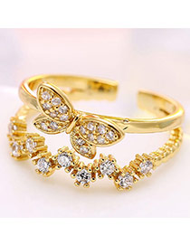 Lovely Gold Color Butterfly Shape Decorated Wave Opening Ring