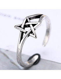 Retro Silver Color Star Shape Decoreted Simple Opening Ring