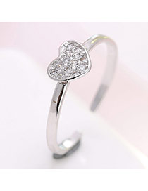 Elegant Silver Color Heart Shape Decorated Simple Opening Ring