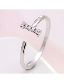 Elegant Silver Color Letter I Decorated Simple Opening Ring