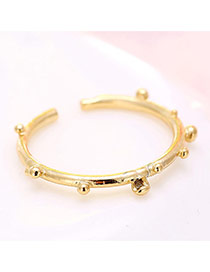 Elegant Gold Color Round Shape Decorated Opening Ring