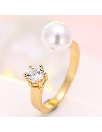 Fashion Gold Color Diamond & Pearl Decorated Opening Ring