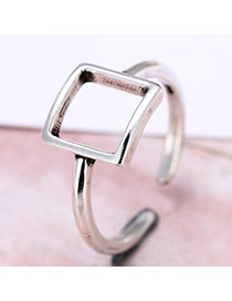 Personality Silver Color Suqare Shape Decorated  Simple Opening Ring
