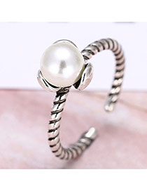 Lovely Silver Color Big Pearl Decorated Simple Opening Ring