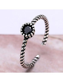 Retro Silver Color Gemstone Decorated Opening Ring