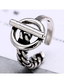 Vintage Anti-silver Round Shape Decorated Simple Opening Ring