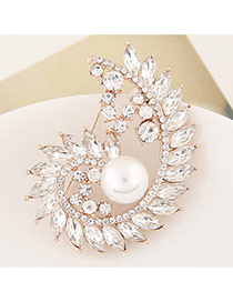 Delicate White Waterdrop Shape Diamond &pearl Decorated Spiral Brooch
