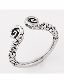Vintage Anti-silver Geometric Shape Decorated Simple Opening Ring