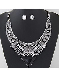 Exaggerated Silver Color Traingle Pendant Decorated Hollow Out Geometric Shape Jewelry Sets