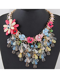 Trendy Multi-color Water Drop Shape Diamond&flower Decorated Short Chain Necklace