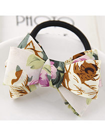 Sweet Green Flower Pattern Bowknot Decorated Simple Hair Band