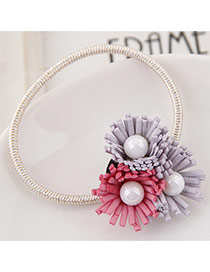 Sweet Red+light Purple Pearl&three Flower Decorated Simple Hair Band