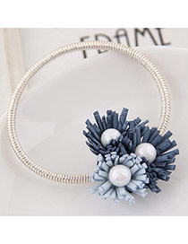 Sweet Blue Pearl&three Flower Decorated Simple Hair Band