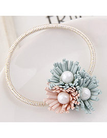 Sweet Green+pink Pearl&three Flower Decorated Simple Hair Band