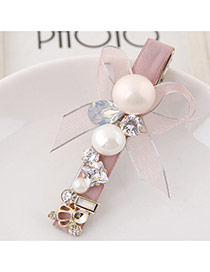 Sweet Pink Pearl&bowknowt Decorated Simple Hair Clip