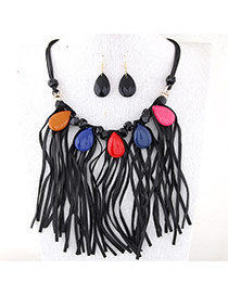 Temperament Black Waterdrop Shape Gemstone Decorated Tassel Necklace