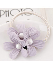 Sweet Light Purple Three Flower&pearl Decorated Simple Hair Band