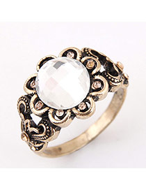 Vintage Antique Gold Diamond&flower Decorated Simple Ring