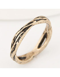 Vintage Gold Color Pure Color Decorated Hollow Out Cross Simple Ring